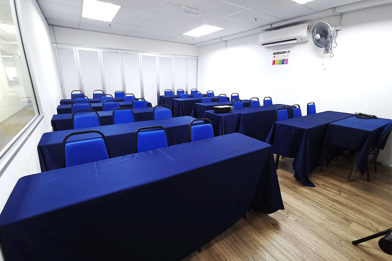 penang training room rental blue theme